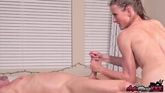 Naughty MILF Massages Lucky Guy And Gives The Best Handjob Thumb