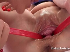 Totally drunk granny takes two cocks Thumb