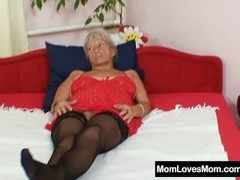 Ugly grandma Cecilie toys her  hairy pussy Thumb