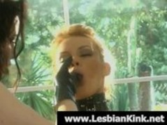 Horny lesbians in latex spanking butts Thumb