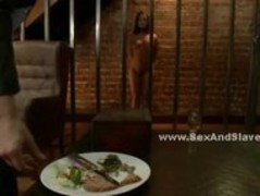Redhead slave with perky tits served food and a violent mouth and Thumb