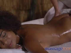 Massage Rooms Wet slippery and oiled interracial lesbians fuck on the table Thumb